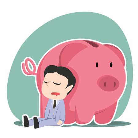 Asian businessman sleeping beside piggy bank Illustration