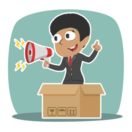 African businesswoman promoting out of the box Illustration