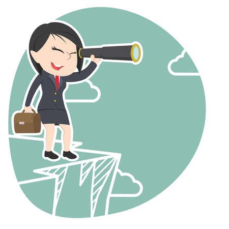 Asian businesswoman looking through monocular on cliff Illustration