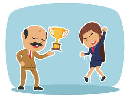 Indian boss giving trophy to his female employee illustration.