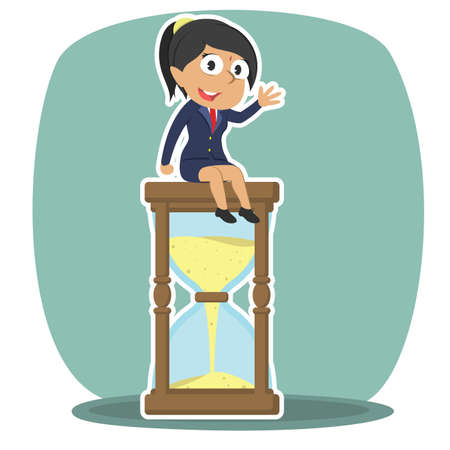 Indian businesswoman is sitting on hourglass Indian Businesswoman Sitting Hourglass Stock Vector
