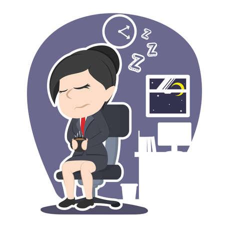 アジアのビジネスウーマン落ちる眠りイラストデザイン アジアビジネスウーマン 秋眠り イラストデザイン ベクトル グラフィック