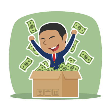 African businessman with dollar came out from cardboard box African Businessman Dollar Came Out Cardboard Box Royalty Free Stock Vectors