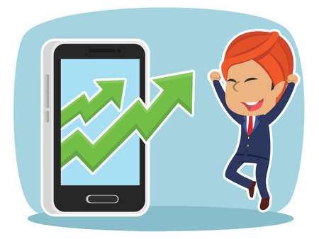 Indian businessman with rising graph out from smartphone Indian Businessman Rising Graph Out Smartphone Royalty Free Stock Illustrations