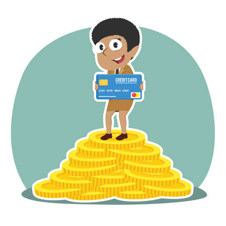 african businesswoman holding credit card on pile of coins