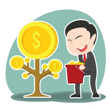 asian businessman harvesting coin tree