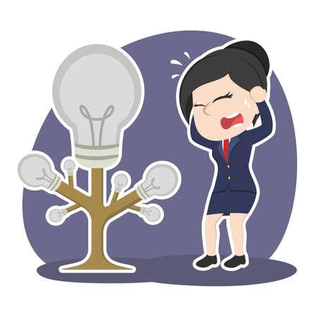 Asian businesswoman panic with dead idea tree