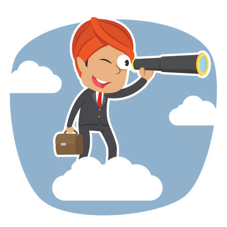 Indian businessman on clouds looking through monocular