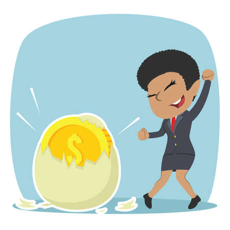 African businesswoman happy got her coin hatched from egg illustration design