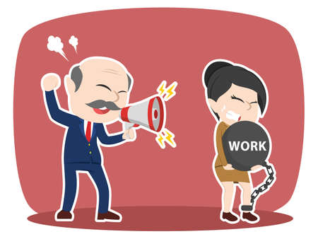 Asian boss forced work hard to his female employee Illustration