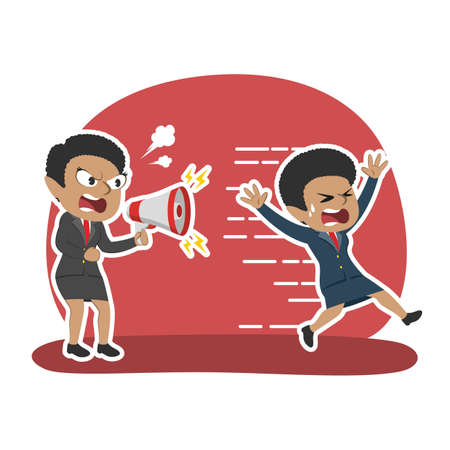 African businesswoman yelling with megaphone to running employee