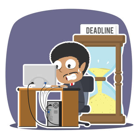 African businessman working in panic with deadline hourglass illustration design