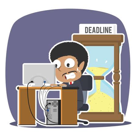 African businessman working in panic with deadline hourglass illustration design Vektoros illusztráció