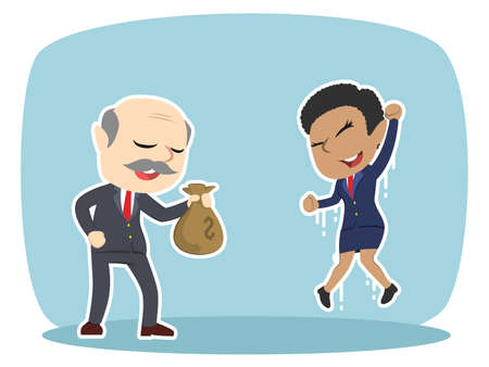 ceo office: Boss giving sack of money sack to a woman.