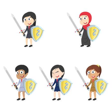 Businesswoman holding money shield and sword. Illustration