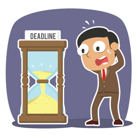 Man in panic with deadline hourglass.