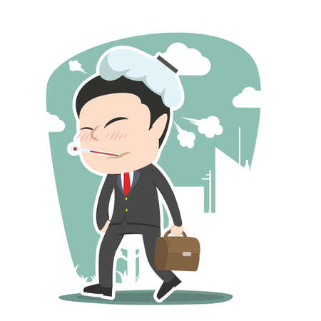 Sick man going to work illustration.