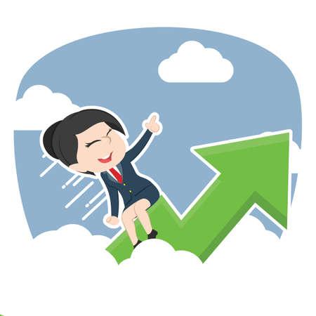 asian businesswoman riding graph through clouds