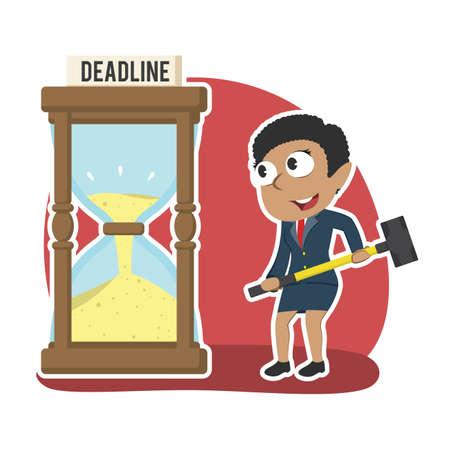 african businesswoman want to break deadline hourglass with hammer