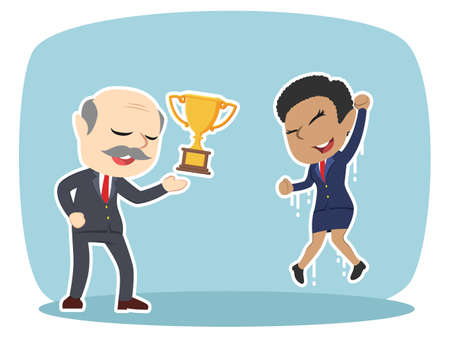 Boss giving trophy to his female employee. Illustration
