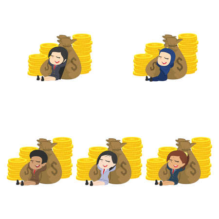 Woman relaxing on money different. Illustration