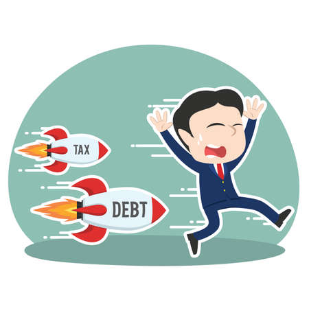asian businessman being chased by tax debt rocket