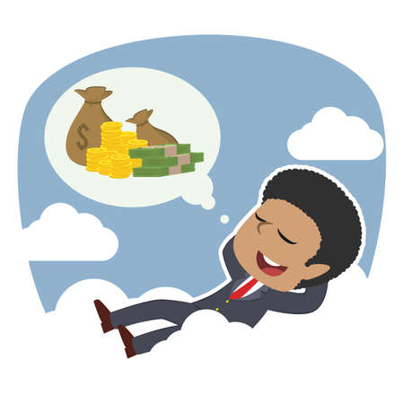african businessman relaxing on clouds thinking about money