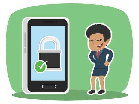 Onderneemster met beveiligde smartphonevector