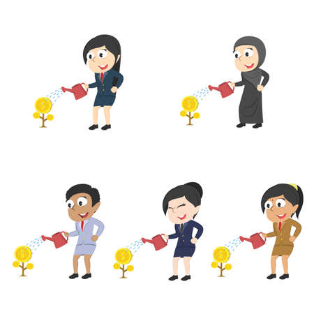 Businesswomen watering coin trees, different races set