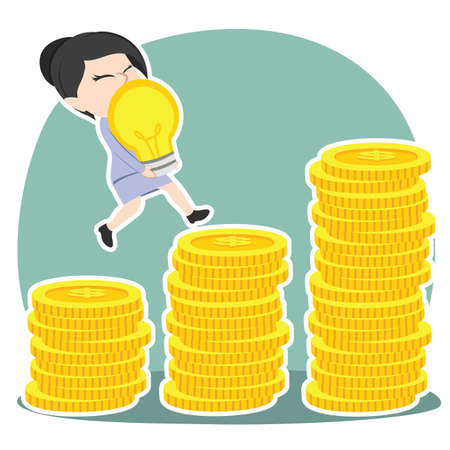 Businesswoman climbing coin stairs while carrying an idea vector Illustration