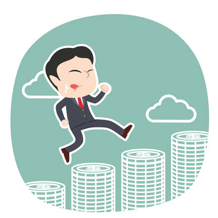 Businessman running on coins vector