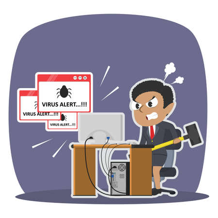 Angry african businesswoman want to break computer because virus illustration design Illustration