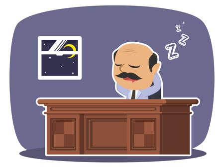 インドのボスは眠りに落ちる  イラスト・ベクター素材