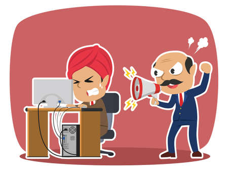 Indian boss yelling to his stressed male employee Illustration