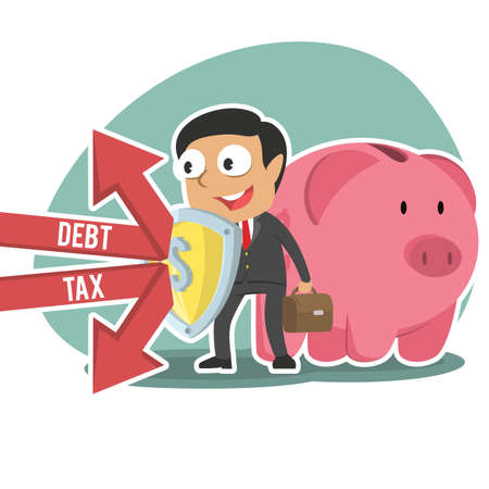 indian businessman protecting piggy bank form debt and tax