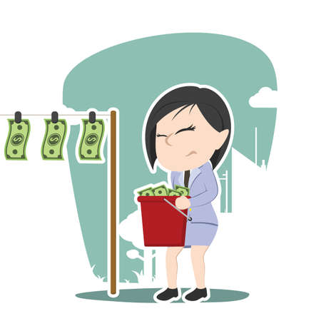 Illustration of an asian businesswoman drying money. Illustration