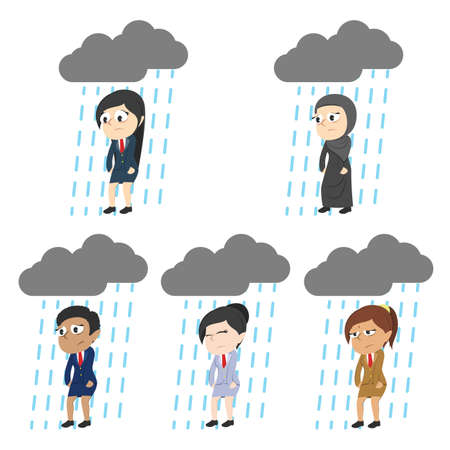Set of tired businesswoman in different race with raining cloud. Illustration