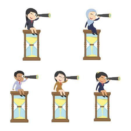 Satz der Geschäftsfrau im unterschiedlichen Rennen unter Verwendung binokularer auf Sanduhr.