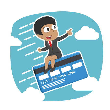 Businesswoman fly with credit card.