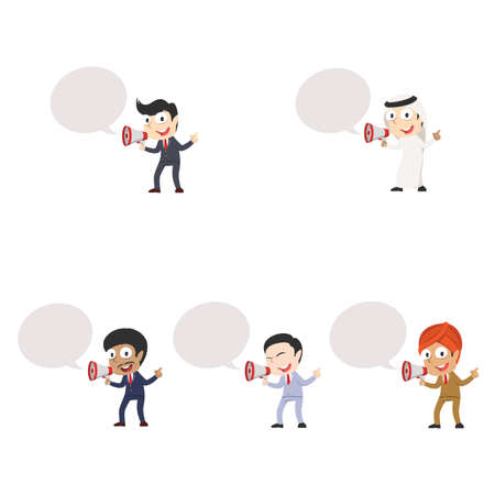 Businessman with megaphone and callout different race set Illustration