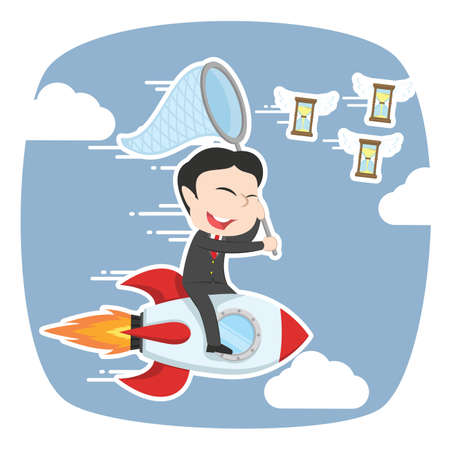Asian businessman on rocket chasing flying hourglass
