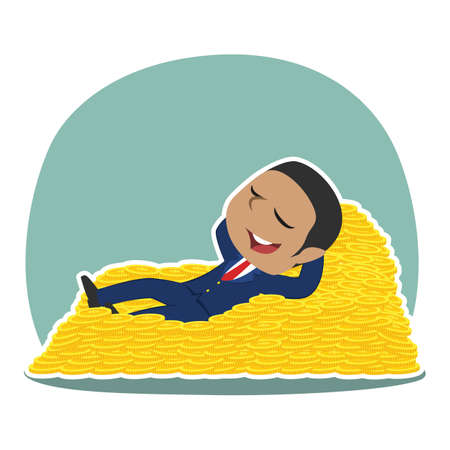 African businessman sleeping on coin bed Illustration