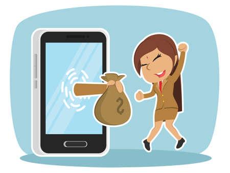 Indian businesswoman happy got money from smartphone Ilustração