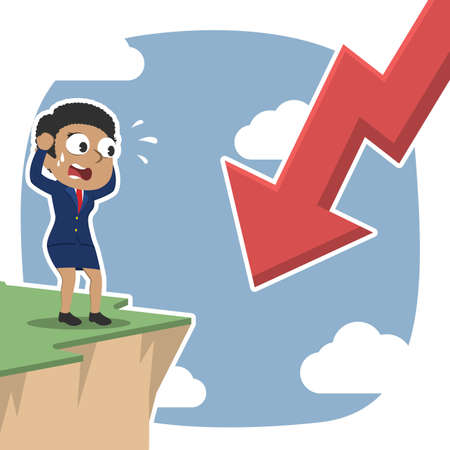 African businesswoman shock see downward arrow from cliff edge– stock illustration African Businesswoman Shock See Downward Arrow Cliff Edge