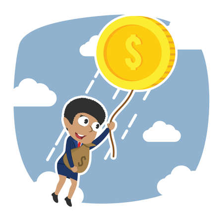 african businesswoman fly away with her wealth Illustration