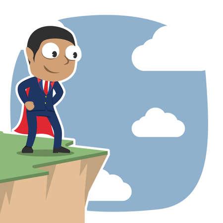Super businessman standing on cliff edge