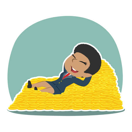 Businesswoman sleeping on coin bed