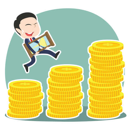 Asian businessman is climbing coin stairs carrying hourglass Illustration