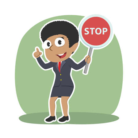 Businesswoman holding stop sign