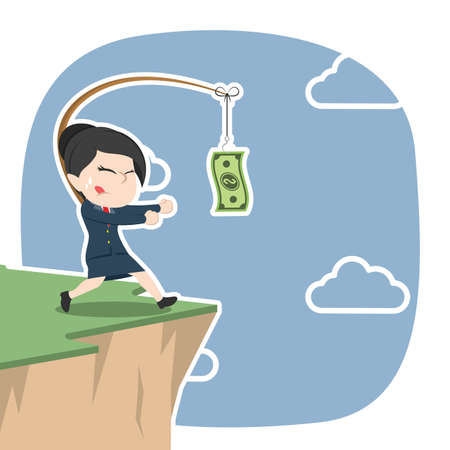 Asian businesswoman is chasing money on cliff illustration.